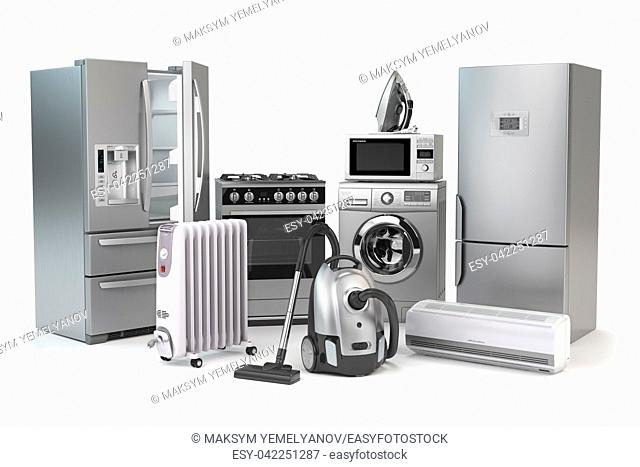 Home appliances. Set of household kitchen technics isolated on white background. Fridge, gas cooker, microwave oven, washing machine vacuum cleaner air...