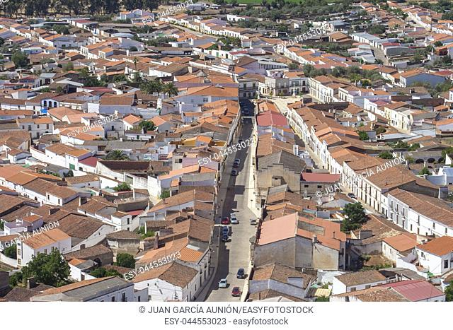 Alconchel aerial view of village, Spain. This town settled at extremaduran-portuguese boundary rural area called A Raia or Raya, Spain
