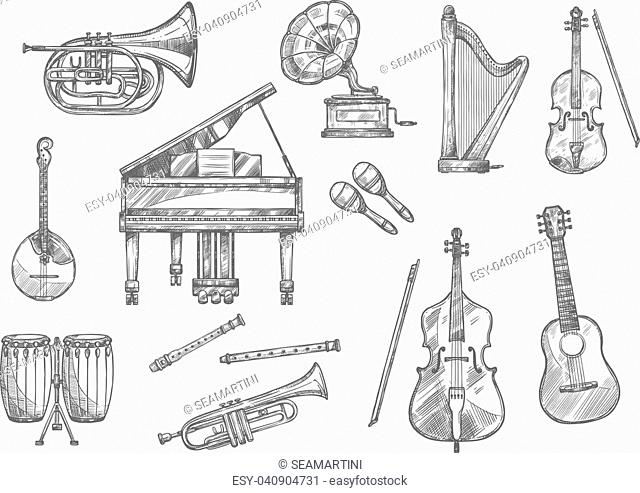 Musical instrument sketch set of classic, folk and jazz music. Piano, guitar and drum, violin, trumpet and flute, horn, maracas and harp, cello