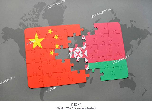 puzzle with the national flag of china and belarus on a world map background. 3D illustration