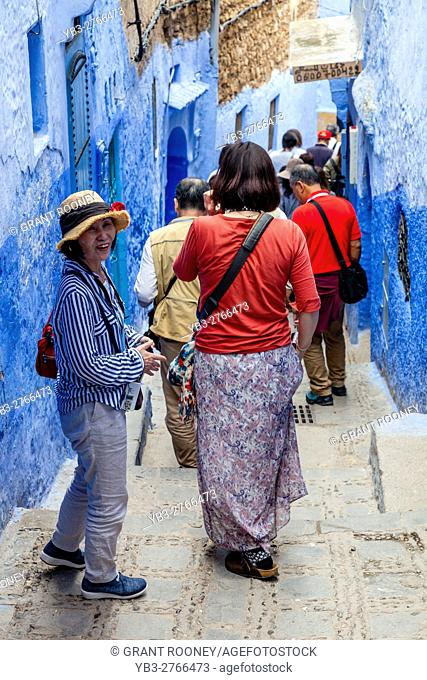 Chinese Tourists In The Medina, Chefchaouen, Morocco