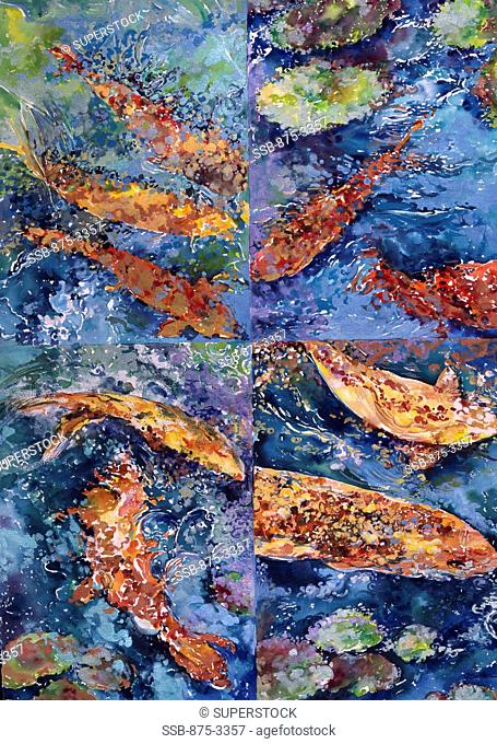 Fish Quadrant I, by John Bunker, watercolour on paper, 1999, 20th Century, Private Collection