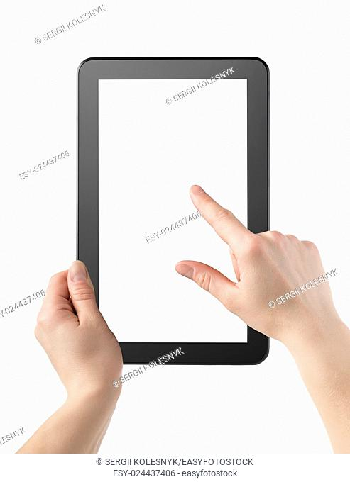 Hands and tablet isolated on a white background