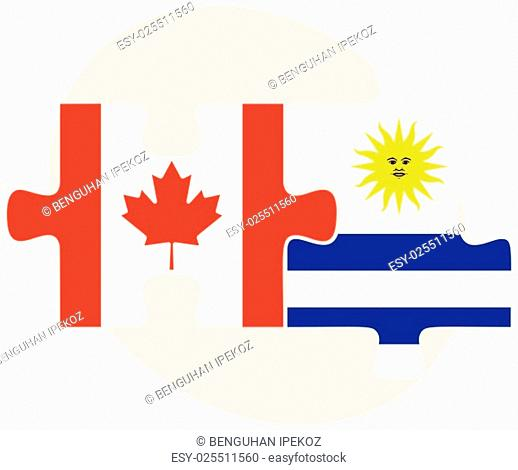 Canada and Uruguay Flags in puzzle isolated on white background