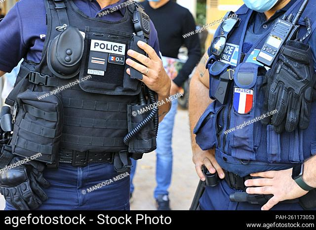Menton, France - October 18, 2021: Police controls Traffic Speed and Noise. Law Enforcement, Municipale, Municipal, Polizei, force, Mandoga Media Germany