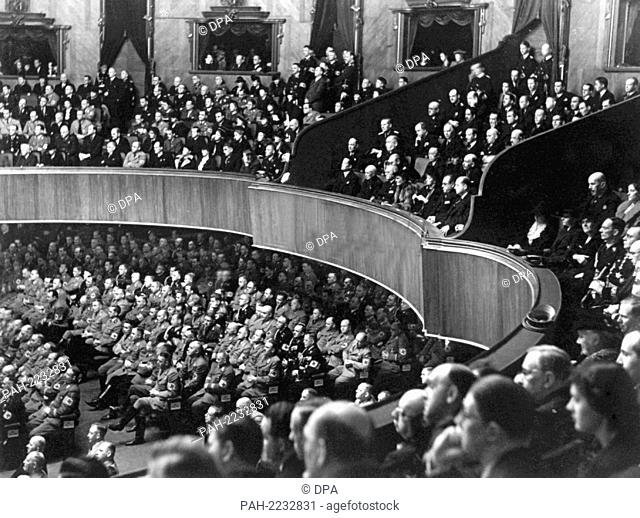 View into the Kroll Opera in Berlin during a meeting of the Reichstag on the 30th of January in 1939. Adolf Hitler justified the annexation of Austria in his...