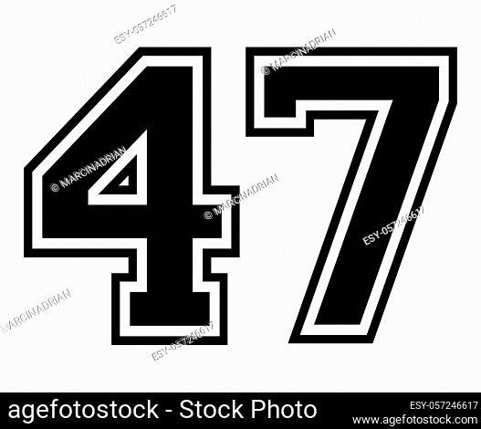 47 Classic Vintage Sport Jersey / Uniform numbers in black with a black outside contour line number on white background for American football