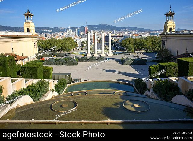 Congress palace in Monjuic, Barcelona, Spain. Camp set up by the Spanish army to house homeless people. Spain is one of the countries most affected by the...