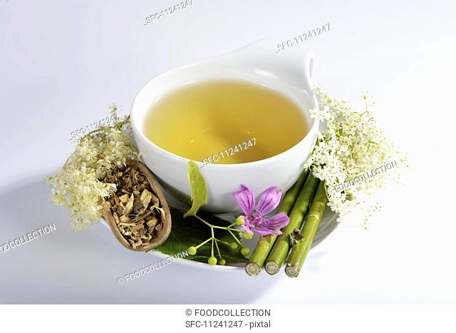 Herbal tea made from flowers and medicinal plants