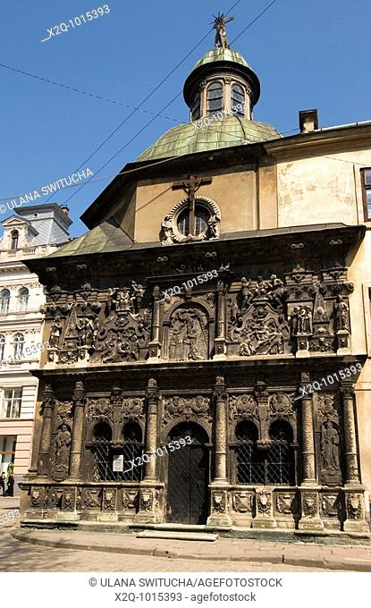 Black stone carved façade of the Boim Chapel Lviv Ukraine
