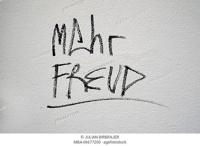 Europe, Austria, Vienna, capital, wall, lettering 'Mehr Freud'