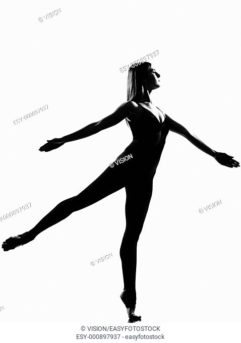 beautiful caucasian tall woman ballet dancer full length on studio isolated white background