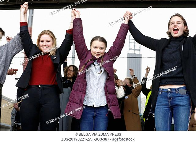 February 21, 2019 - Brussels, BELGIUM - Climate activist Kyra Gantois, Swedish climate activist Greta Thunberg and Climate activist Anuna De Wever pictured...