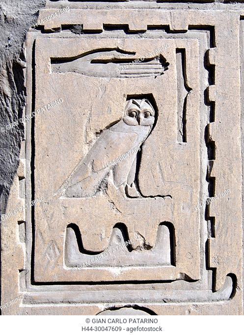 Luxor, Karnak, Egypt.Temple of Karnak sacred to god Amon: hieroglyps on a wall