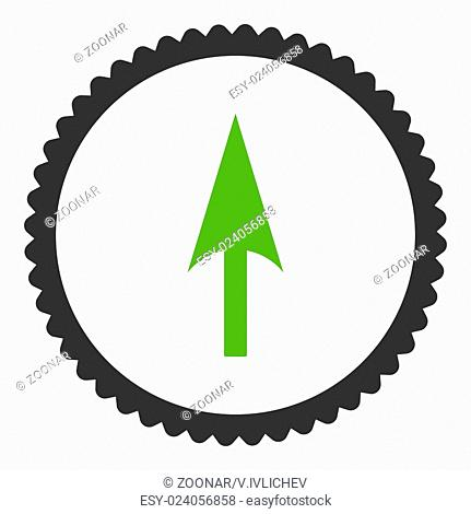 Arrow Axis Y flat eco green and gray colors round stamp icon
