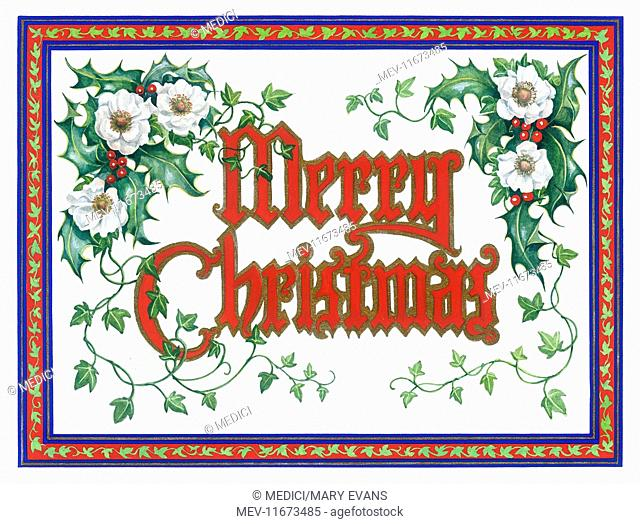 Red 'Merry Christmas' outlined in gold, with Christmas roses, holly and ivy, within a border of ivy leaves on red background with blue and gold striped outlines