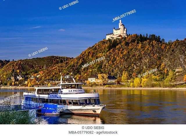 Germany, Rhineland-Palatinate, upper Middle Rhine Valley, Braubach, the Rhine, townscape, Marksburg