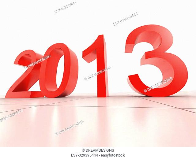 digital illustration of 2013 New Year in white background