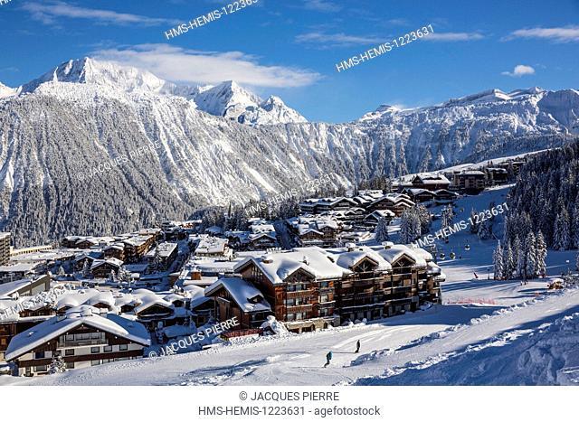 France, Savoie, Massif de la Vanoise, Tarentaise valley, the 3 Valleys, Courchevel 1850 ski resort, the centre of the ski resort