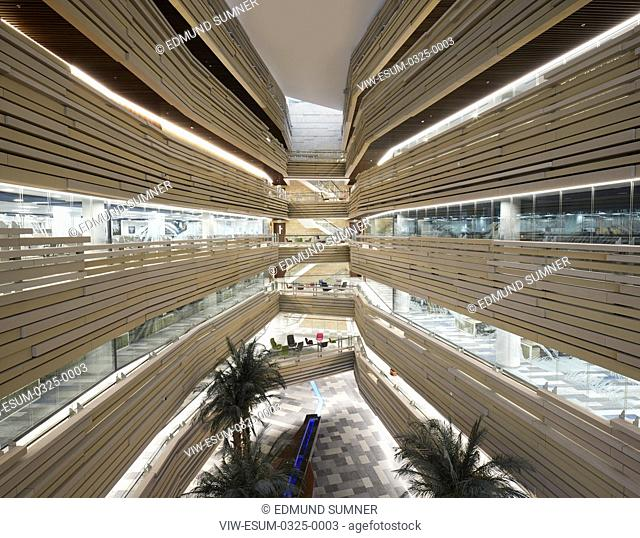 Atrium view. National Bank of Oman HQ, Muscat, Oman. Architect: LOM Architecture and Design, 2017