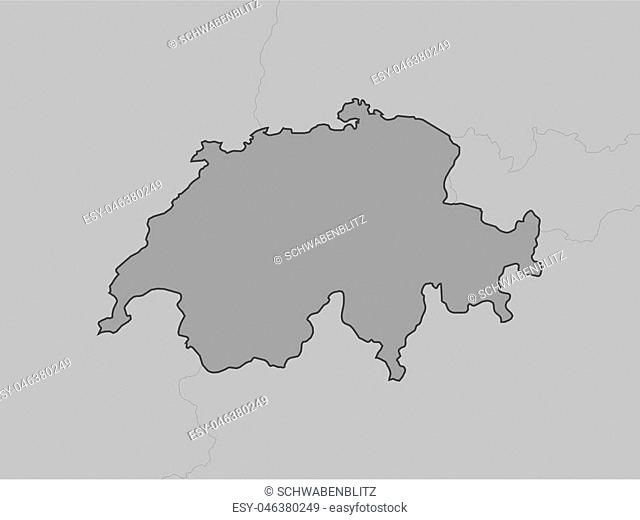Map of Swizerland and nearby countries, Swizerland is highlighted in gray
