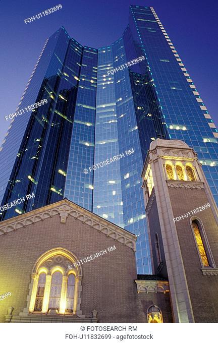 Denver, CO, Colorado, downtown, Trinity United Methodist Church, high-rise building, evening