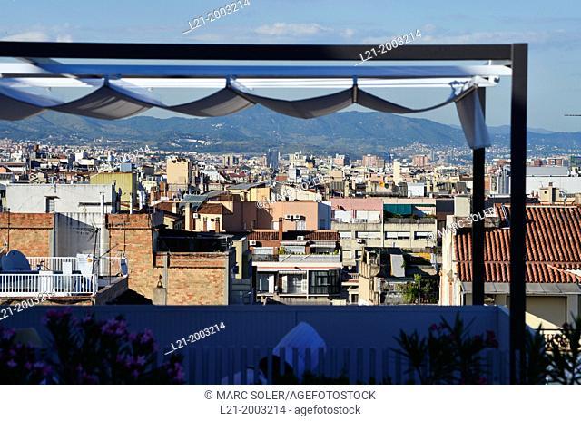 Cityscape from a terrace. Barcelona, Catalonia, Spain