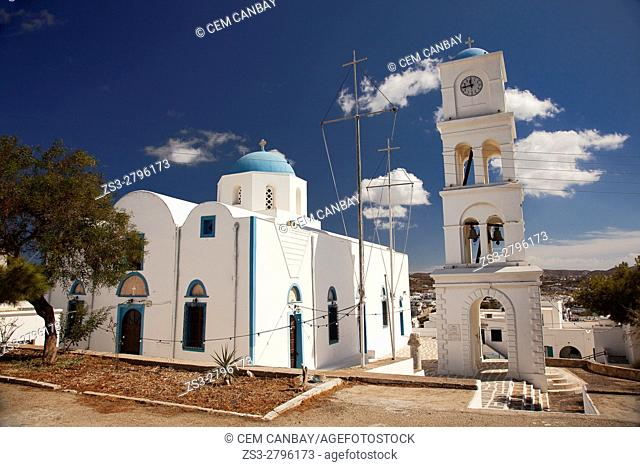 View to the blue domed main church in town center, Adamas, Milos, Cyclades Islands, Greek Islands, Greece, Europe