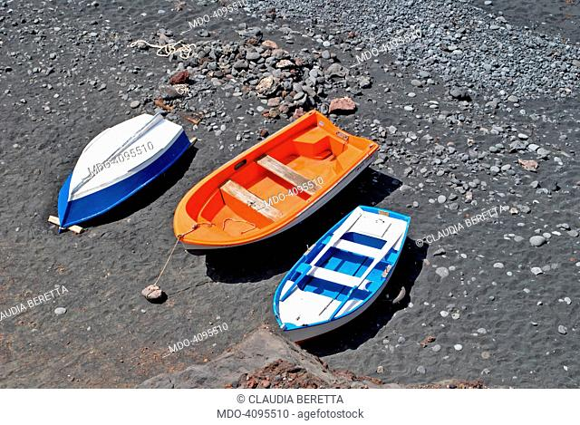 Wooden boats on a beach in Lanzarote. Lanzarote, 30th May 2015