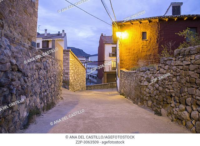 Street in Mora de Rubielos ancient village in Teruel Aragon Spain twilight