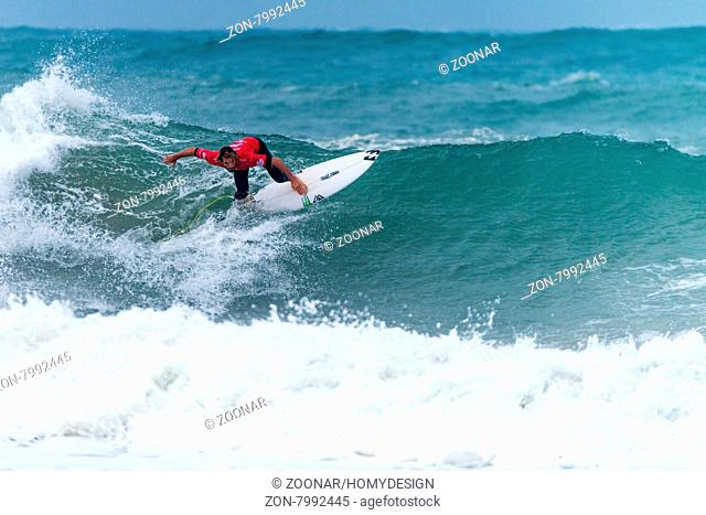 PENICHE, PORTUGAL - OCTOBER 30, 2015: Francisco Morais (POR) during the Moche Rip Curl Pro Portugal, Men's Samsung Galaxy Championship Tour #10