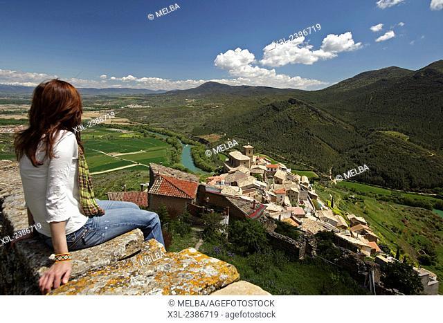 Woman enjoys view from Gallipienzo, Navarre. Spain