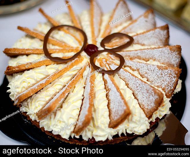 Sahnetorte in einer Makro Nahaufnahme Fotografiert Cream cake photographed in a macro close-up