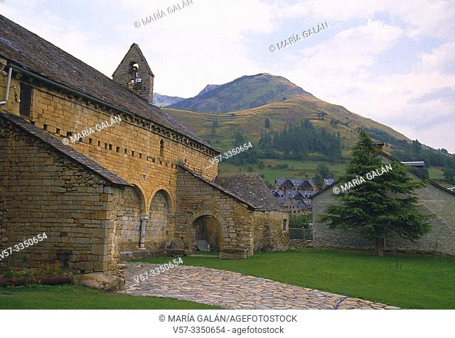 San Andres church and landscape. Salardu, Lerida province, Catalonia, Spain