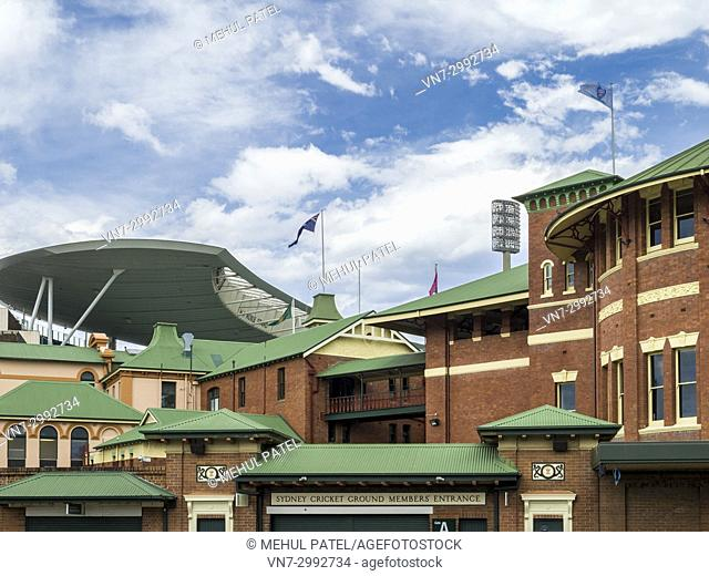 Exterior roadside view of the Members Pavilion and entrance to the Sydney Cricket Ground, Moore Park, Sydney, New South Wales, Australia