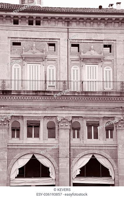 Facade on the Piazza Maggiore - Main Square, Bologna, Italy in Black and White Sepia Tone