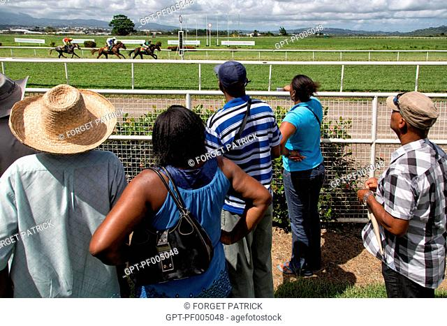 GAMERS AT THE HORSE RACE'S FINISH LINE, HIPPODROME DE CARRERE RACE TRACK, LE LAMENTIN, MARTINIQUE, FRENCH ANTILLES, FRANCE