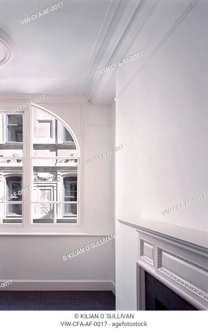 empty office, fireplace and view beyond - Austen Friars, City of London, LONDON, UNITED KINGDOM, Architect
