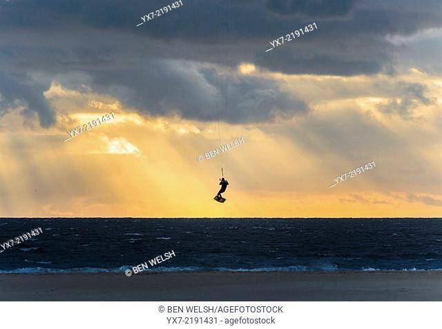 Kitesurfing in Tarifa, Costa de la Luz, Cadiz, Andalusia, Southern Spain, Europe