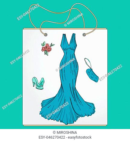 Shopping bag, gift bag with the image of fashionable things.Fashionset for prom. Illustration in hand drawing style