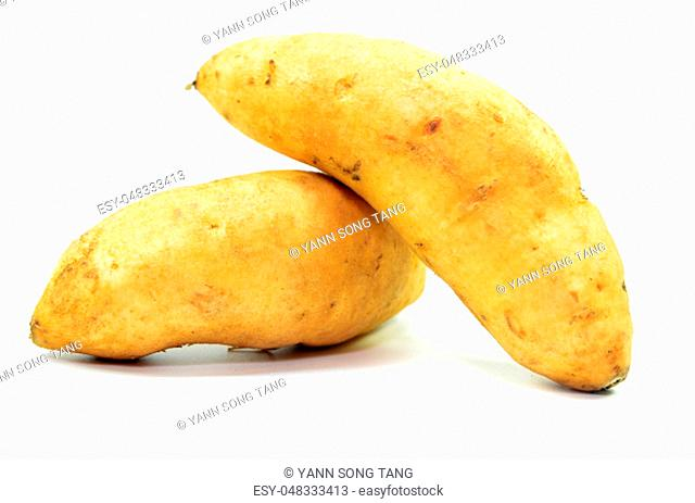 Sweet potatoes isolated on a white background