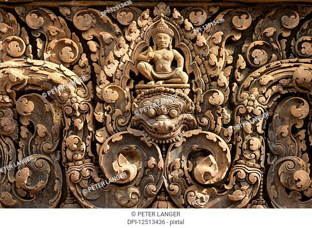Bas-relief of Shiva mounted on Kala in Banteay Srei; Angkor, Siem Reap, Cambodia