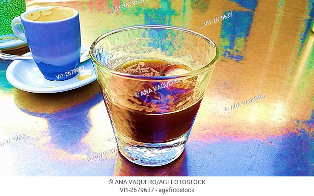 Coffee with ice, Summer refreshment, miajadas, Cáceres, Extremadura, Spain
