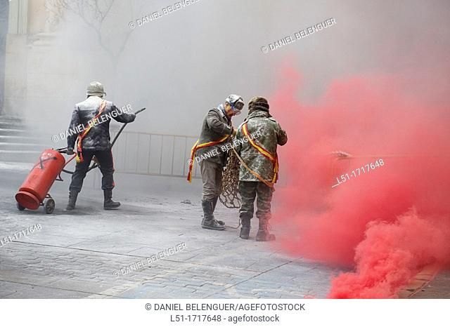 Festival called 'els enfarinats de Ibi', where men fighting with eggs and flour on the main square of Ibi, Alicante, Spain