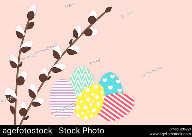 colorful easter eggs and pussy willow on pink background with copy space- vector illustration