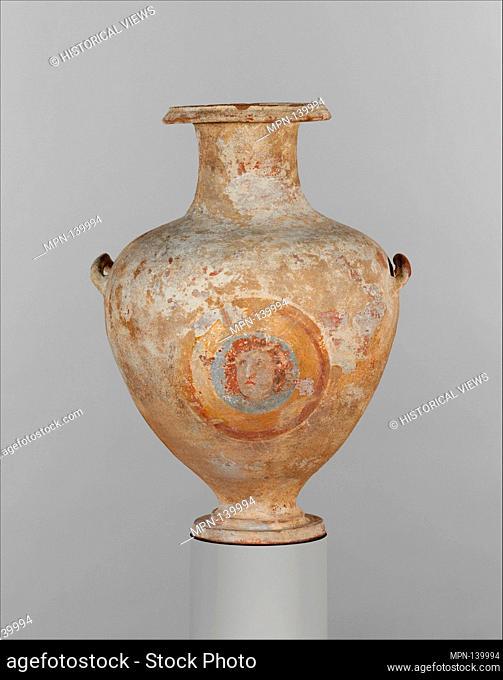 Terracotta Hadra hydria (water jar). Period: Hellenistic; Date: 3rd century B.C; Culture: Greek, Ptolemaic, Egyptian; Medium: Terracotta; Dimensions: H