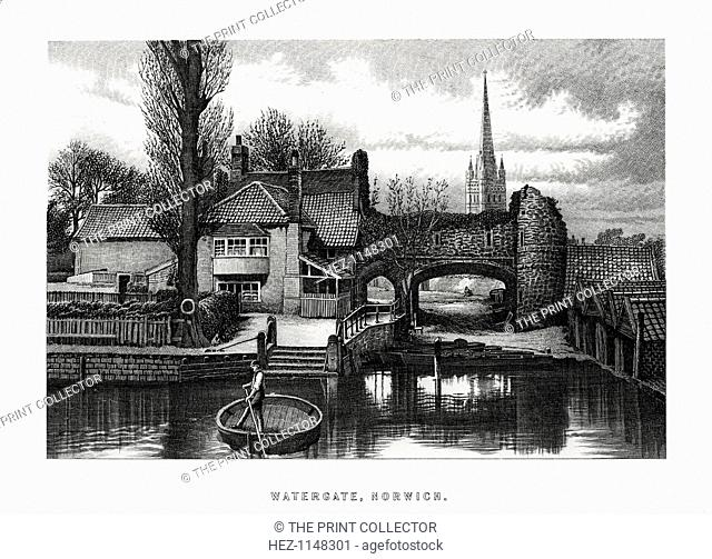 Watergate, Norwich, 1896. A man in a circular boat on the River Wensum, and in the background the 15th-century water gate at Pull's Ferry