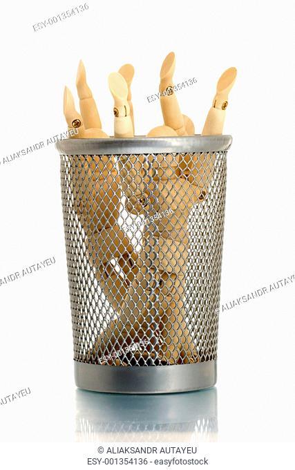 Mesh trash bin with many manikins inside