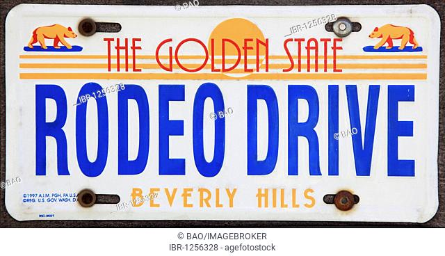 American number plates from the Rodeo Drive, Los Angeles