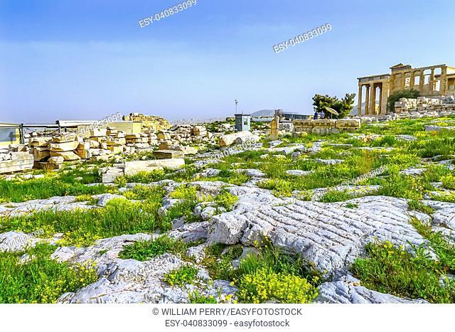 Ruins Temple of Erechtheion Acropolis Athens Greece. Temple of Erechtheion for a former Athenian king. Acropolis is symbol of Athens